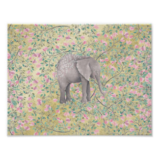 Watercolor Elephant Flowers Gold Glitter Poster