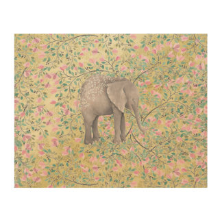 Watercolor Elephant Flowers Gold Glitter Wood Print