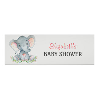 Watercolor Elephant Girl Baby Shower Banner Poster