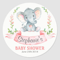 Watercolor Elephant Girl Baby Shower Classic Round Sticker