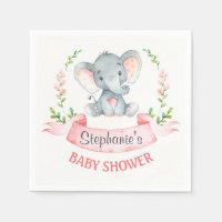 Watercolor Elephant Girl Baby Shower Napkin