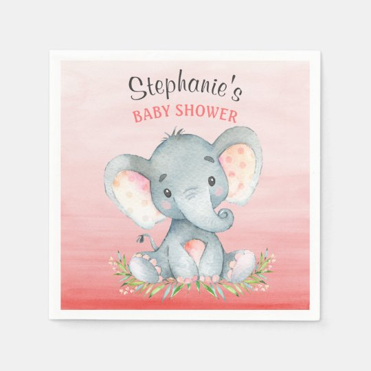 Watercolor Elephant Girl Baby Shower Paper Napkin
