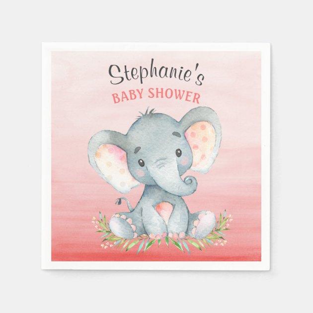 Watercolor Elephant Girl Baby Shower Paper Napkin | Zazzle.com