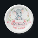 "Watercolor Elephant Girl Baby Shower Paper Plate<br><div class=""desc"">This adorable paper plate with cute little watercolor baby elephant and modern calligraphy script is the perfect for any baby shower or special event in style. Personalize with your own special text, and use it for the party or event of your choice. Matching items including baby shower invitation, sticker, postage...</div>"