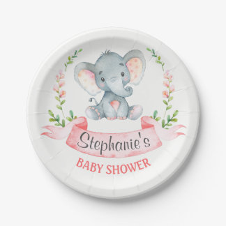 Watercolor Elephant Girl Baby Shower Paper Plate