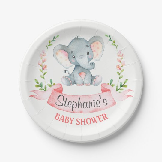 Watercolor Elephant Girl Baby Shower Paper Plate Zazzle