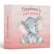 Watercolor Elephant Girl Baby Shower Photo Album Binder