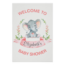 Watercolor Elephant Girl Baby Shower Poster