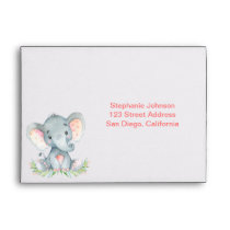 Watercolor Elephant Girl Envelope