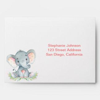 Watercolor Elephant Girl Envelope