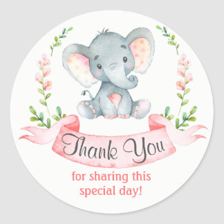Watercolor Elephant Girl Thank You Classic Round Sticker