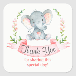 Watercolor Elephant Girl Thank You Square Sticker