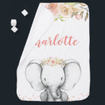 """Watercolor Elephant Personalized Girl Baby Blanket<br><div class=""""desc"""">Sweet girl elephant baby blanket. Soft vintage pink watercolor flowers with a cute elephant illustration.</div>"""