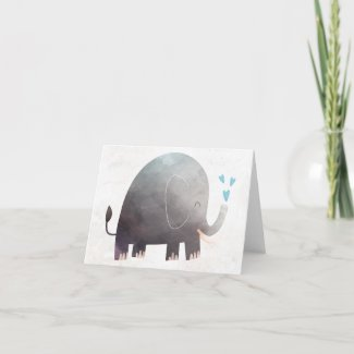 Watercolor Elephant Thank You Note Cards