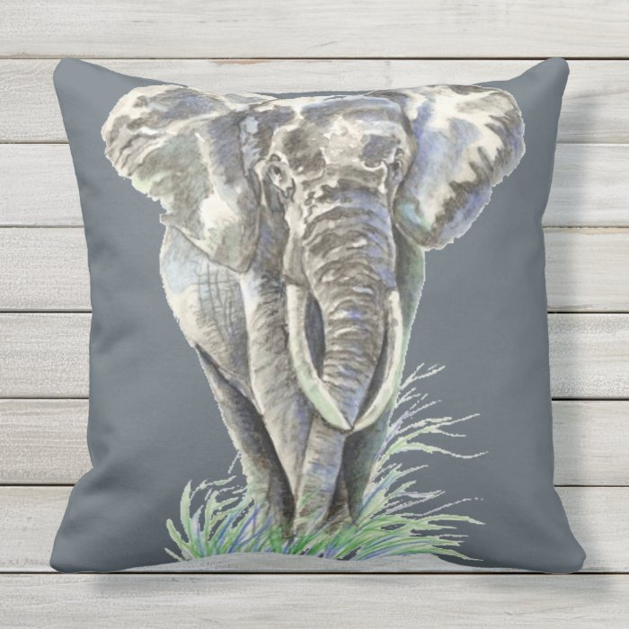 Throw Pillows With Wildlife : Watercolor Elephant Wildlife Animal art Throw Pillow Zazzle