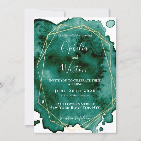 Watercolor Emerald Green Gold Frame Luxury Wedding Invitation