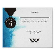 Watercolor Employee 5 Year Anniversary Certificate Poster at Zazzle