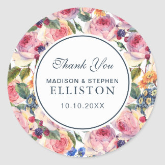 Watercolor   English Roses   Thank You Classic Round Sticker