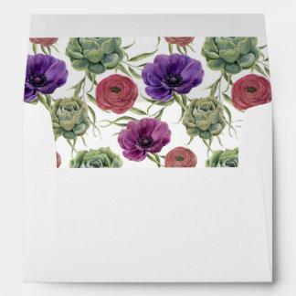 Watercolor   Eucalyptus & Anemone -  Wedding Envelope