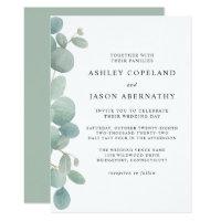 Watercolor Eucalyptus Border Wedding Invitation