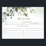"""Watercolor Eucalyptus Bridal Shower Recipe Card<br><div class=""""desc"""">For further customization,  please click the """"customize further"""" link and use our design tool to modify this template.  If you need help or matching items,  please contact me.</div>"""