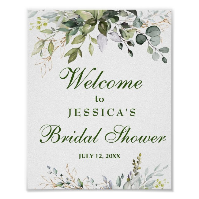 Watercolor Eucalyptus Bridal Shower Welcome Sign
