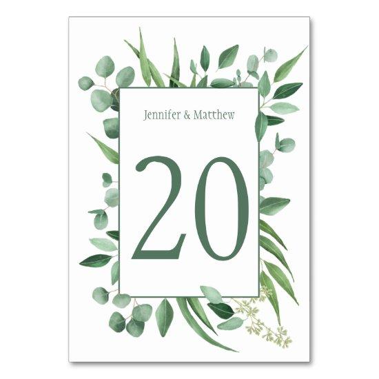 Watercolor Eucalyptus Envy Table Cards