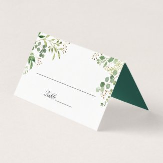 Watercolor Eucalyptus Foliage Green Leaves Wedding Place Card