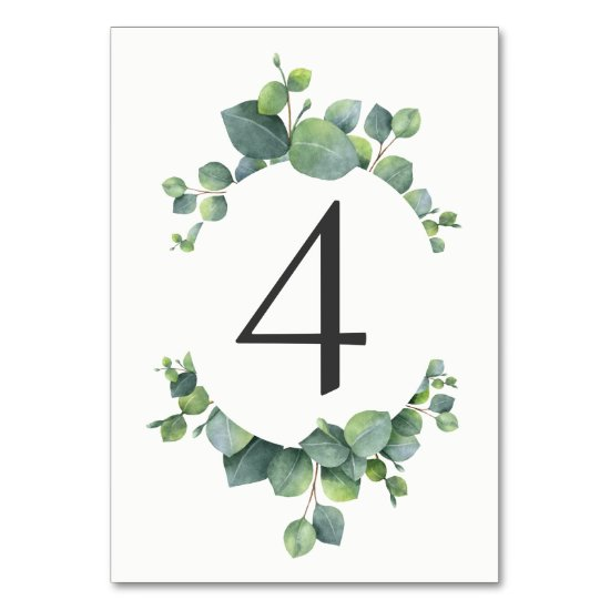 Watercolor Eucalyptus Foliage Table Number Card