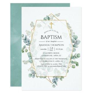 Watercolor Eucalyptus Geometric Baptism Invitation