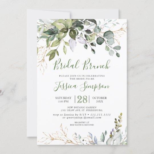 Watercolor Eucalyptus Greenery Bridal  Brunch Invitation