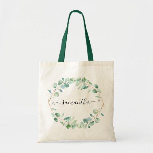 Watercolor Eucalyptus Greenery Personalized Tote Bag