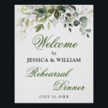 "Watercolor Eucalyptus Greenery Rehearsal Dinner Poster<br><div class=""desc"">Enjoy your Rehearsal Dinner with this unique poster with Ivory White Watercolor Eucalyptus Greenery . The default size is 8 x 10 inches, you can change it to a larger size. For further customization, please click the ""customize further"" link and use our design tool to modify this template. If you...</div>"