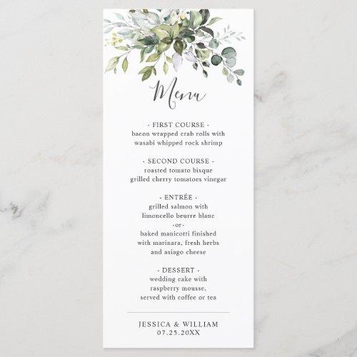 Watercolor Eucalyptus Greenery Wedding Dinner Menu