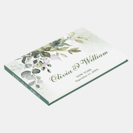 Watercolor Eucalyptus  Greenery Wedding Guest Book