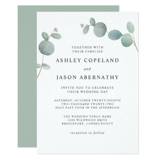 Watercolor Eucalyptus Greenery Wedding Invitation