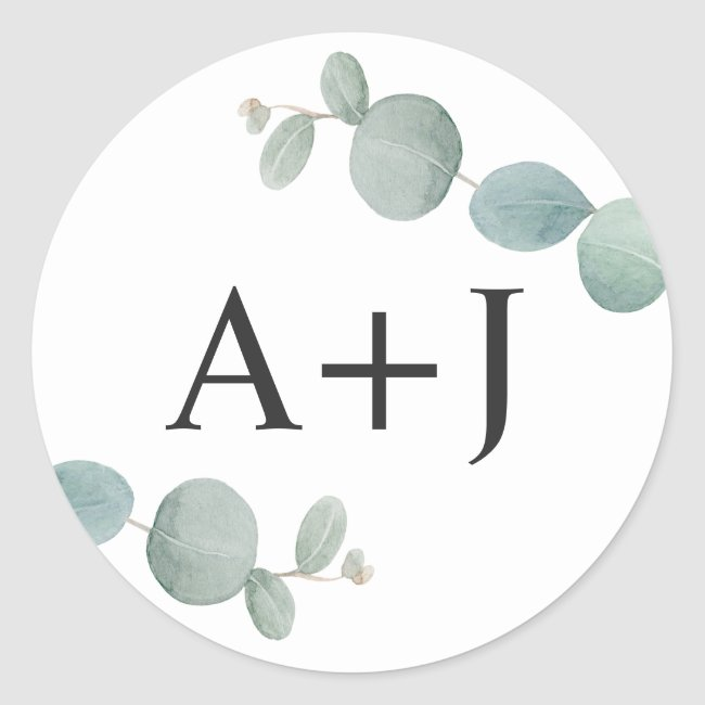 Watercolor Eucalyptus Greenery with Initials Classic Round Sticker