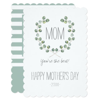 Watercolor Eucalyptus Leaf Frame | Mother's Day Card