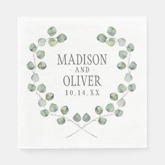 Watercolor Eucalyptus Leaf Frame | Wedding Napkin