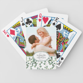 Watercolor Eucalyptus Leaf Pattern - Wedding Photo Bicycle Playing Cards