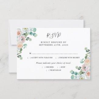 Watercolor Eucalyptus Roses Botanical Wedding RSVP