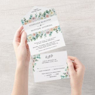Watercolor Eucalyptus Roses Floral Wedding All In One Invitation