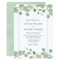 Watercolor Eucalyptus Wedding Invitations