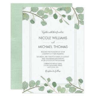 Watercolor Eucalyptus Wedding Invitations