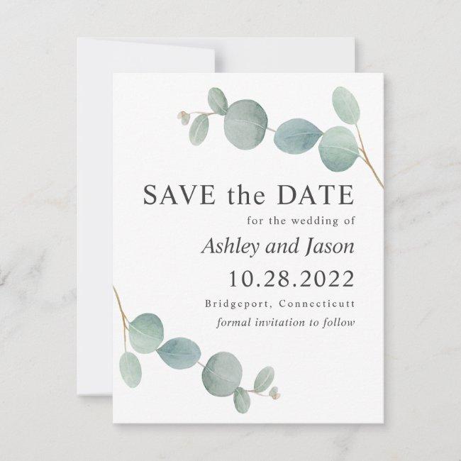 Watercolor Eucalyptus Wedding Save the Date