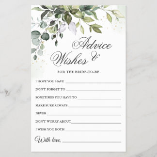 Watercolor Eucalyptus Wishes & Advice Card