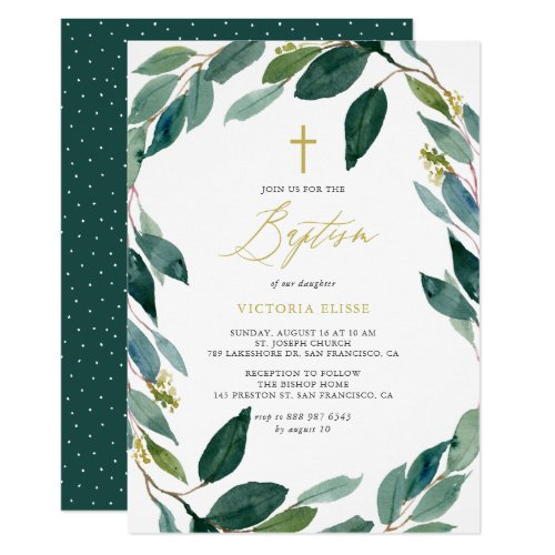 Watercolor Eucalyptus Wreath Baptism Invitation