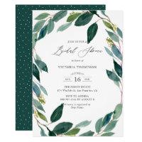Watercolor Eucalyptus Wreath Bridal Shower Invitation