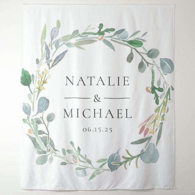 Watercolor Eucalyptus Wreath Greenery Wedding Tapestry