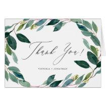 Watercolor Eucalyptus Wreath Wedding Thank You